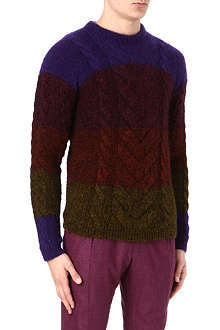 PAUL SMITH MAINLINE Multi-stripe cable knit jumper