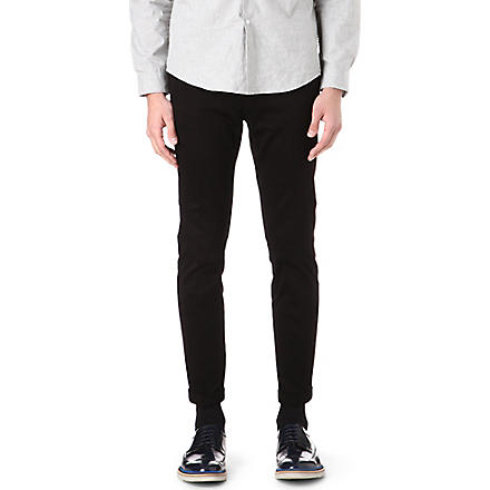 PAUL SMITH MAINLINE Slim-fit stretch-cotton trousers (Black