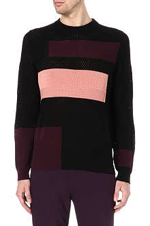 PAUL SMITH MAINLINE Multi-panel perforated knitted jumper