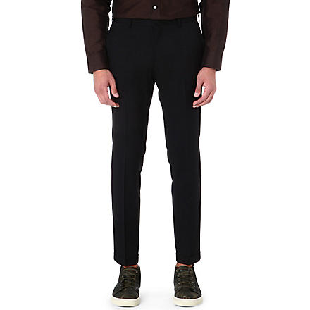PAUL SMITH MAINLINE Cropped flat-front trousers (Black