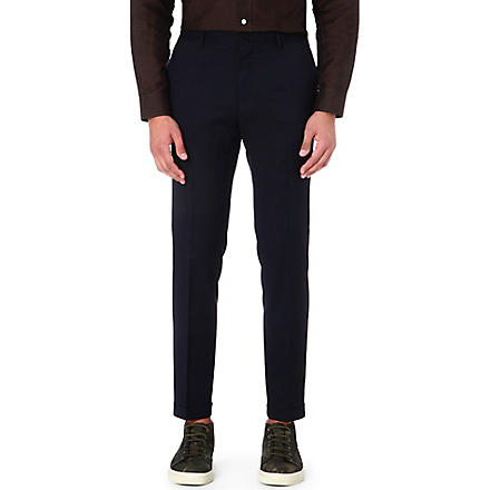 PAUL SMITH MAINLINE Cropped flat-front trousers (Navy