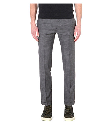 PAUL SMITH MAINLINE Cropped wool-blend trousers (Grey