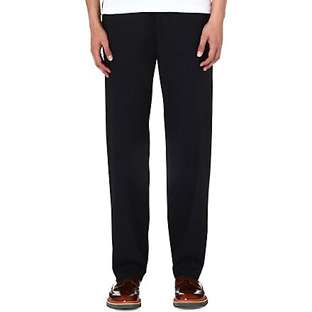 PAUL SMITH MAINLINE Drawstring mid-rise wool trousers (Black