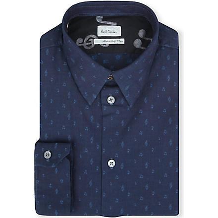 PAUL SMITH MAINLINE Music Note single-cuff chambray shirt (Indigo