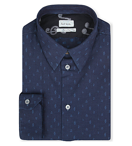PAUL SMITH MAINLINE Music Note single-cuff chambray shirt (Indigo