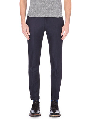 PAUL SMITH MAINLINE Slim-fit linen and cotton-blend trousers