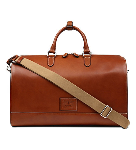 RALPH LAUREN ACCESSORIES Leather duffle bag (Tan