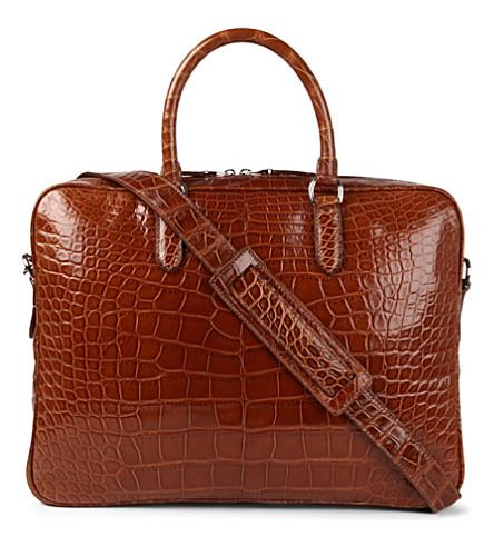 RALPH LAUREN ACCESSORIES Alligator attaché bag (Honey