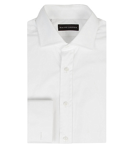 RALPH LAUREN BLACK LABEL Bond tailored double-cuff cotton shirt (White