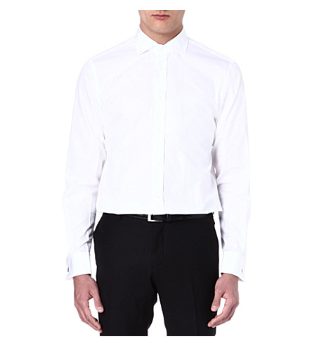 RALPH LAUREN BLACK LABEL Spread-collar shirt (White