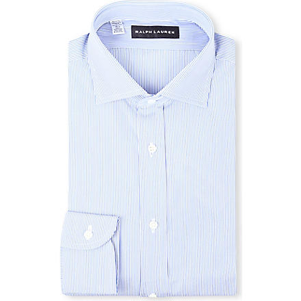 RALPH LAUREN BLACK LABEL Striped single-cuff shirt (Lt blue & white