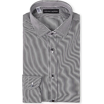 RALPH LAUREN BLACK LABEL Classic-fit spread-collar single-cuff shirt (Black & white