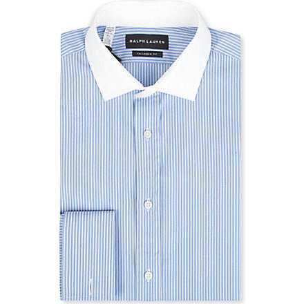 RALPH LAUREN BLACK LABEL Striped tailored-fit French-cuff shirt (Lt blue & white