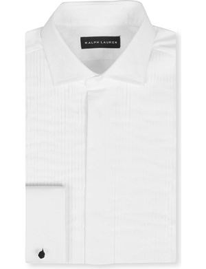 RALPH LAUREN BLACK LABEL Pleated French cuff formal shirt