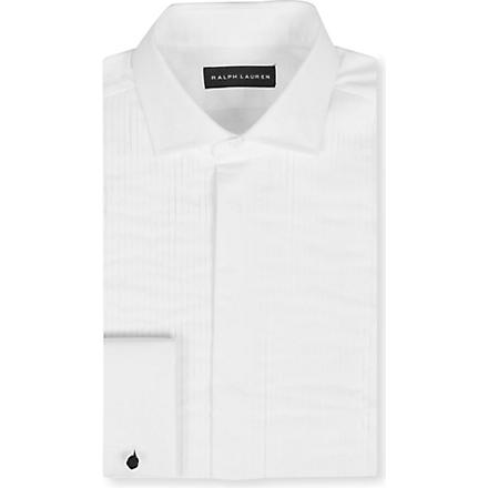 RALPH LAUREN BLACK LABEL Pleated French cuff formal shirt (White
