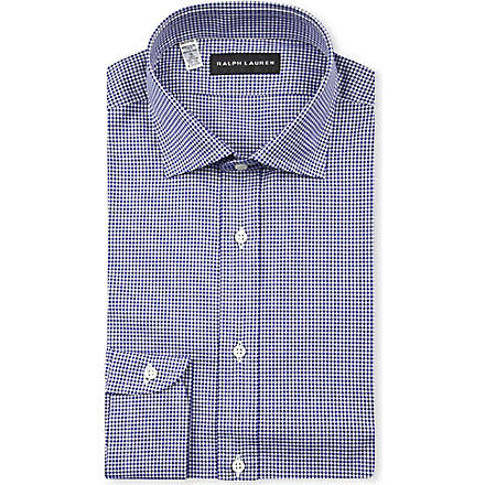 RALPH LAUREN BLACK LABEL Gingham-print regular-fit shirt (Dark blue & whi