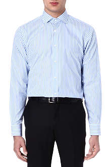 RALPH LAUREN BLACK LABEL Spread-collar single-cuff striped shirt