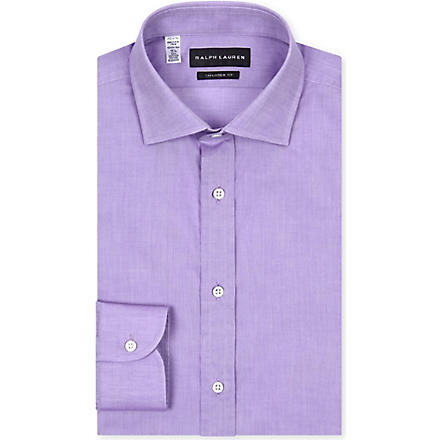 RALPH LAUREN BLACK LABEL Tailored-fit spread-collar single-cuff shirt (Lavender