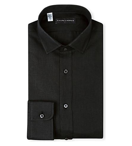 RALPH LAUREN BLACK LABEL Linen single-cuff shirt (Black