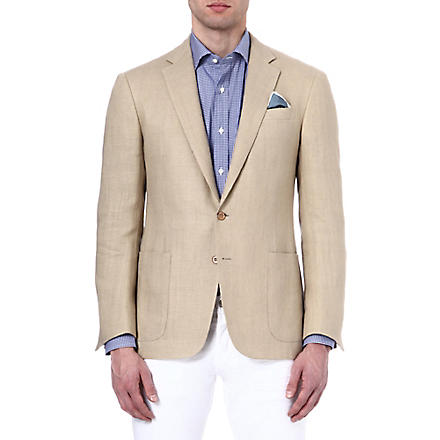 RALPH LAUREN BLACK LABEL Single-breasted notch-lapel linen blazer (Tan