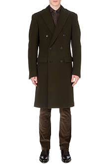 RALPH LAUREN BLACK LABEL Peak-lapel wool overcoat