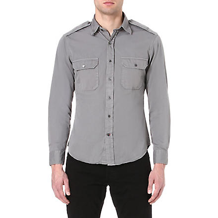 RALPH LAUREN BLACK LABEL Military cotton shirt (Grey