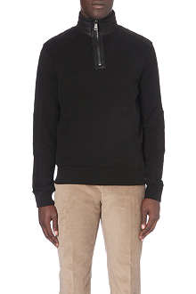 RALPH LAUREN BLACK LABEL Leather panel jersey sweatshirt