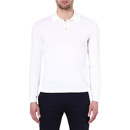 RALPH LAUREN BLACK LABEL Long-sleeve collared polo shirt (White