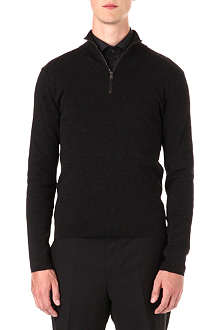 RALPH LAUREN BLACK LABEL Leather-trim knitted jumper
