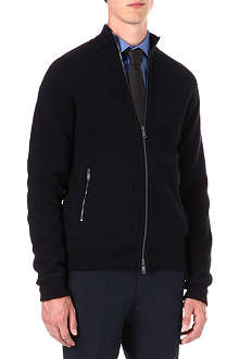 RALPH LAUREN BLACK LABEL Full zip wool-blend cardigan