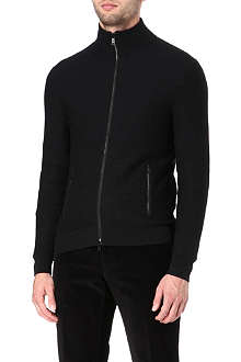 RALPH LAUREN BLACK LABEL Textured zip-up cardigan