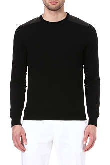 RALPH LAUREN BLACK LABEL Leather shoulder-patch jumper