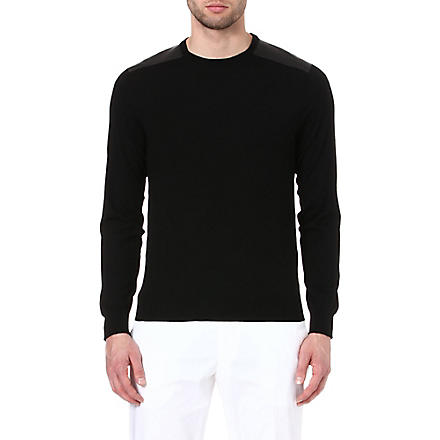 RALPH LAUREN BLACK LABEL Leather shoulder-patch jumper (Black w/black l