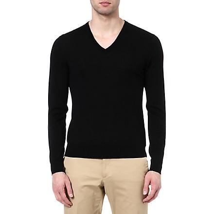 RALPH LAUREN BLACK LABEL V-neck knitted jumper (Black