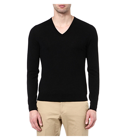 RALPH LAUREN BLACK LABEL V-neck knitted jumper (Black