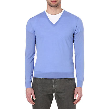 RALPH LAUREN BLACK LABEL V-neck knitted jumper (Copen blue