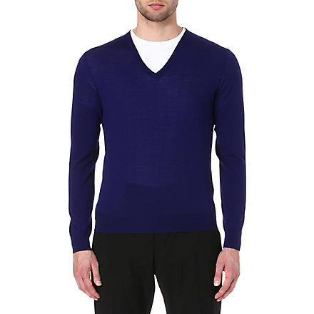 RALPH LAUREN BLACK LABEL V-neck knitted jumper (Royal