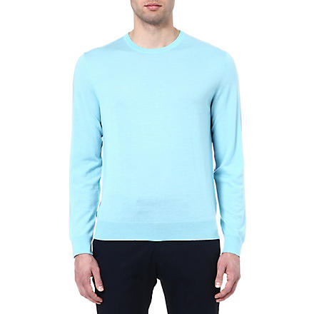 RALPH LAUREN BLACK LABEL Wool and cashmere-blend jumper (Pale+aqua