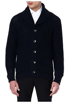 RALPH LAUREN BLACK LABEL Shawl-collar elbow-patch cardigan