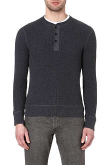 RALPH LAUREN BLACK LABEL Henley thermal knit jumper