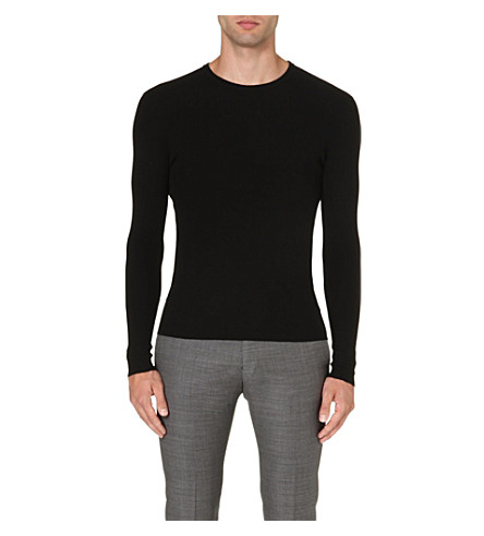 RALPH LAUREN BLACK LABEL Crew-neck ribbed wool jumper (Black