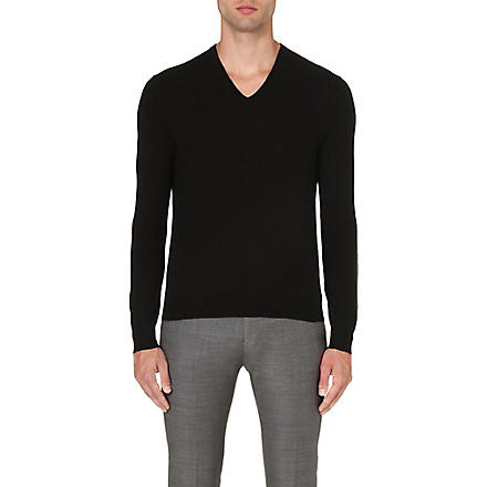 RALPH LAUREN BLACK LABEL V-neck wool jumper (Black