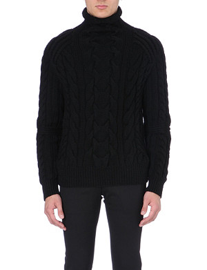 RALPH LAUREN BLACK LABEL Cable-knit roll-neck wool jumper
