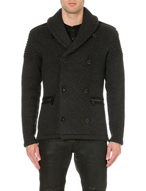 RALPH LAUREN BLACK LABEL Shawl collar woolen cardigan