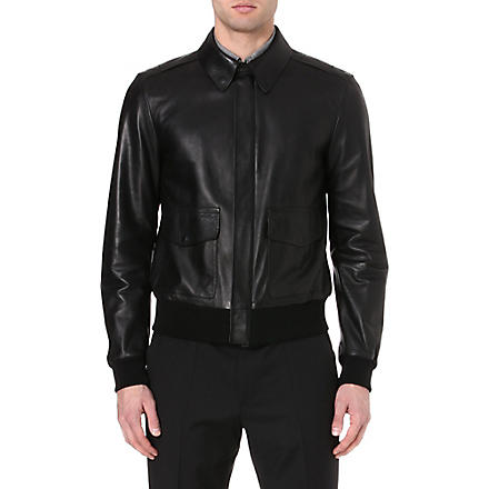 RALPH LAUREN BLACK LABEL Leather bomber jacket (Black