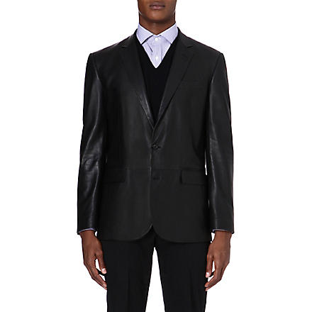 RALPH LAUREN BLACK LABEL Modern Anthony leather blazer (Black