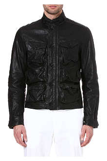 RALPH LAUREN BLACK LABEL Utility leather bomber jacket
