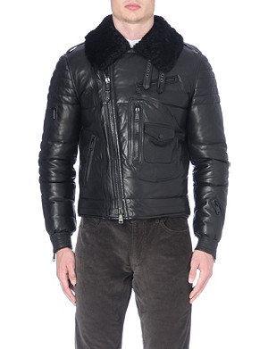RALPH LAUREN BLACK LABEL Leather down filled flight jacket