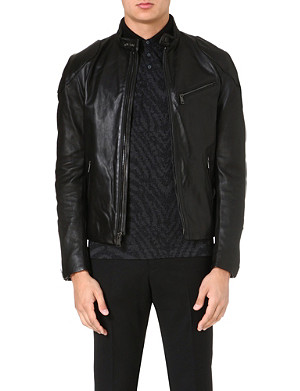 RALPH LAUREN BLACK LABEL Café leather biker jacket