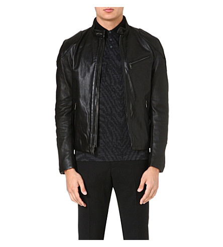 RALPH LAUREN BLACK LABEL Café leather biker jacket (Black